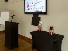 Lighthouse Knoxville - The Schoolhouse room with available A/V equipment.