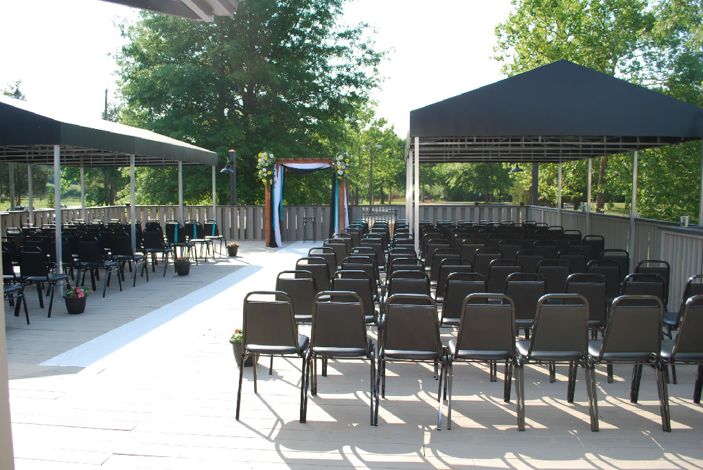 The Pondside Patio accommodates up to 200 guests, features outdoor lighting for nighttime events, and can be covered.