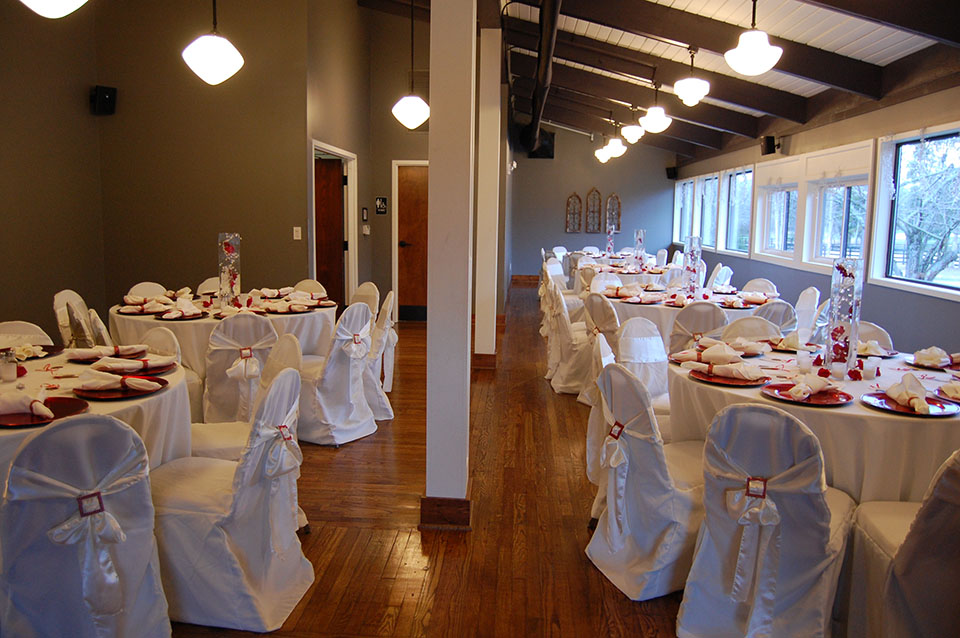 Lighthouse Knoxville Event Center Library room set for a meal event