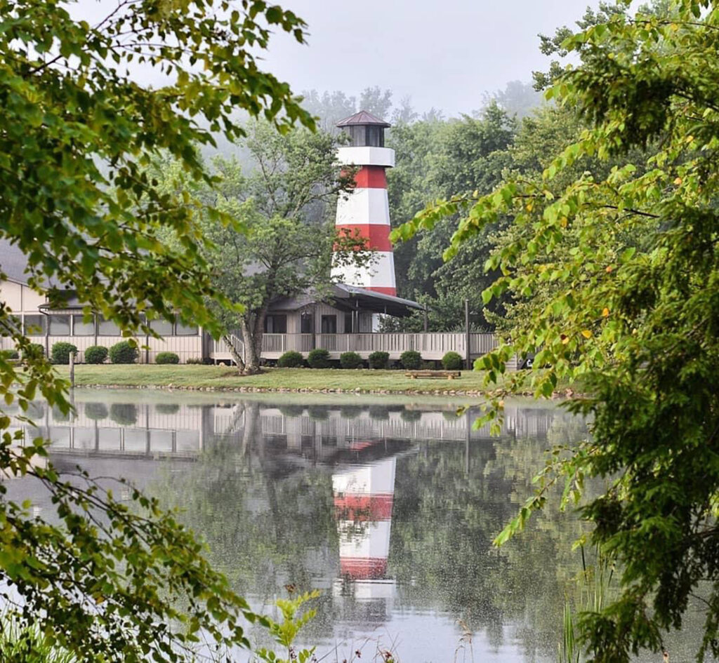 Lighthouse Knoxville Event Venue viewed from across the pond