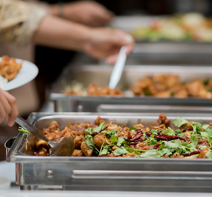 Dinner packages offer buffet service - chafing dishes with food