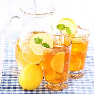Iced tea in pitcher and glasses